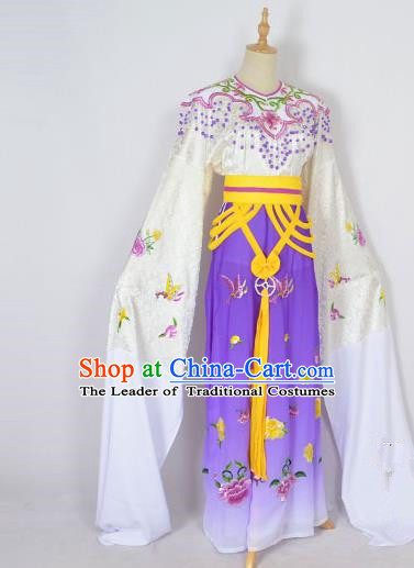 Traditional Chinese Professional Peking Opera Shaoxing Opera Embroidery Costume, China Beijing Opera Female Diva Clothing Zhu Yingtai Purple Long Robe Dress