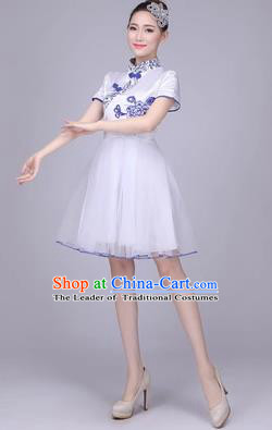 Traditional Chinese Classical Dance Cheongsam Costume, China Folk Dance White Veil Short Bubble Dress for Women