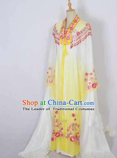 Traditional Chinese Professional Peking Opera Shaoxing Opera Costume Embroidery Yellow Mantel, China Beijing Opera Female Diva Clothing Long Shawl Dress