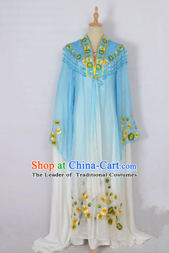 Traditional Chinese Professional Peking Opera Shaoxing Opera Costume Embroidery Blue Mantel, China Beijing Opera Female Diva Clothing Long Shawl Dress