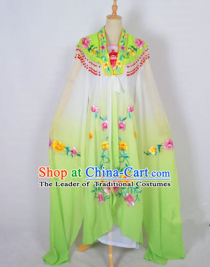 Traditional Chinese Professional Peking Opera Shaoxing Opera Costume Embroidery Grass Green Cloud Shoulder Mantel, China Beijing Opera Female Diva Clothing Long Water Sleeve Shawl Dress