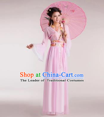 Traditional Chinese Classical Ancient Fairy Costume, China Tang Dynasty Princess Pink Dress for Women