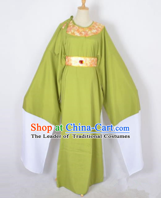 Traditional Chinese Professional Peking Opera Shaoxing Opera Old Men Costume, China Beijing Opera Ministry Councillor Clothing Green Long Robe and Belt Complete Set