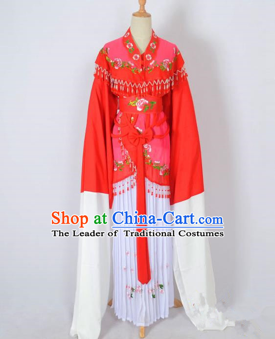 Traditional Chinese Professional Peking Opera Young Lady Costume Water Sleeve Embroidered Dress, China Beijing Opera Diva Hua Tan Rosy Ceremonial Clothing