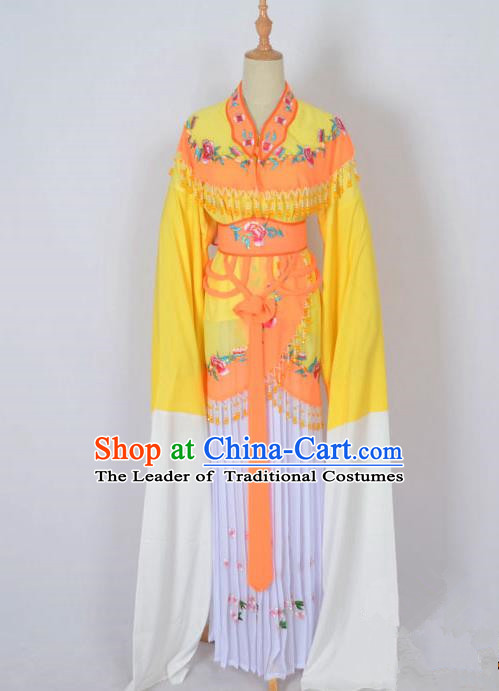 Traditional Chinese Professional Peking Opera Young Lady Costume Water Sleeve Embroidered Dress, China Beijing Opera Diva Hua Tan Yellow Ceremonial Clothing