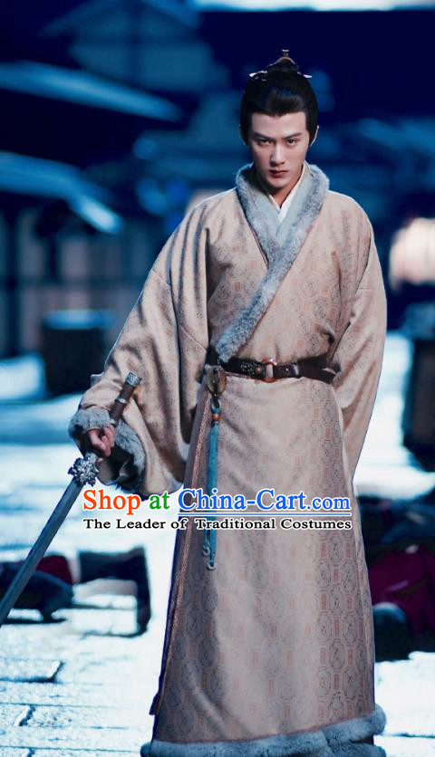 Traditional Chinese Tang Dynasty Nobility Childe Costume and Headpiece Complete Set, China Ancient Hanfu Clothing Palace Prince Embroidery Robe