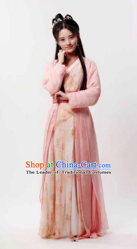 Traditional Chinese Ming Dynasty Nobility Lady Costume and Headpiece Complete Set, China Ancient Hanfu Dress Princess Embroidery Clothing for Women