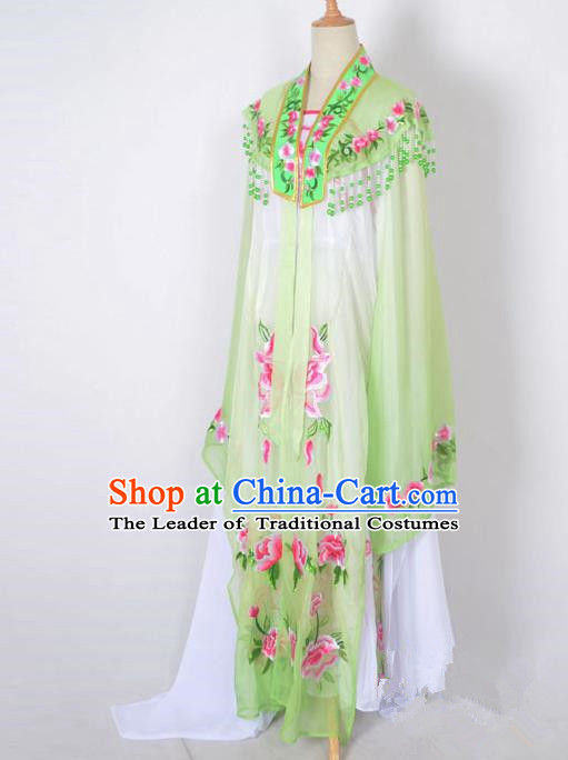 Traditional Chinese Professional Peking Opera Nobility Lady Water Sleeve Costume Embroidery Green Shawl, China Beijing Opera Shaoxing Opera Royal Princess Dress Clothing