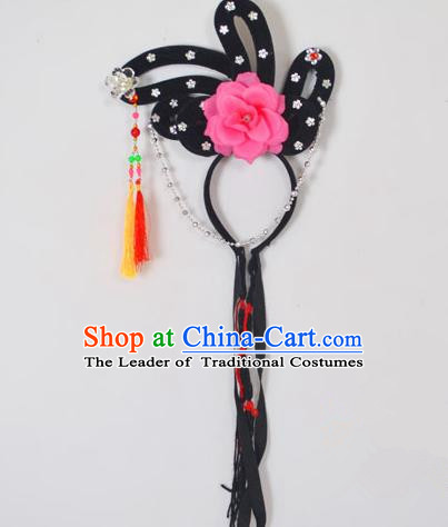 Traditional Handmade Chinese Classical Peking Opera Young Lady Hair Accessories and Wigs, China Beijing Opera Maidservants Diva Pink Flower Headwear