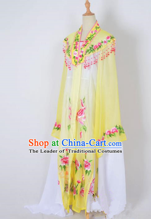 Traditional Chinese Professional Peking Opera Nobility Lady Water Sleeve Costume Embroidery Yellow Shawl, China Beijing Opera Shaoxing Opera Royal Princess Dress Clothing