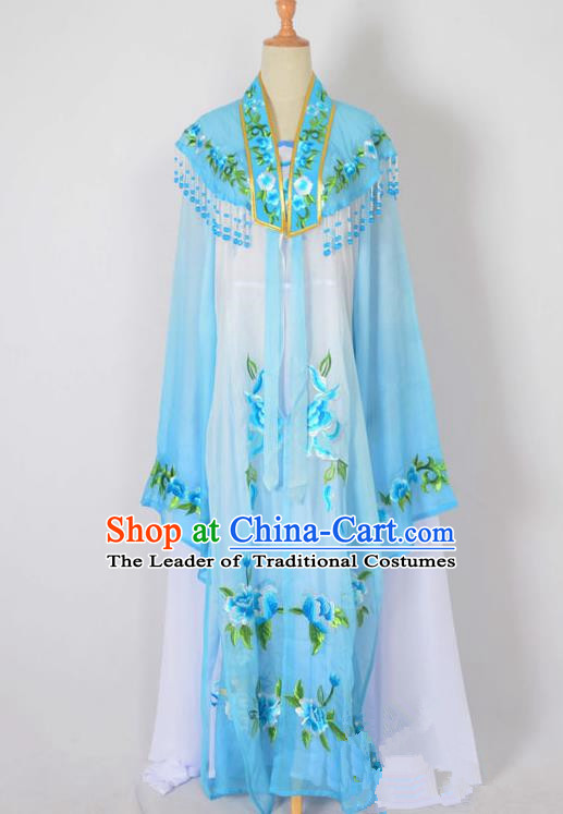 Traditional Chinese Professional Peking Opera Nobility Lady Water Sleeve Costume Embroidery Blue Shawl, China Beijing Opera Shaoxing Opera Royal Princess Dress Clothing