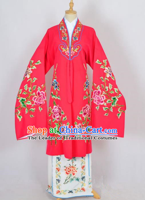 Traditional Chinese Professional Peking Opera Nobility Lady Costume Rosy Mantel, China Beijing Opera Shaoxing Opera Embroidery Diva Hua Tan Dress Clothing