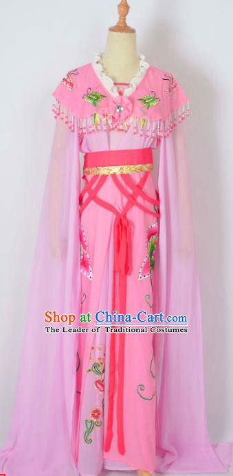 Traditional Chinese Professional Peking Opera Nobility Lady Costume Water Sleeve Pink Dress, China Beijing Opera Shaoxing Opera Embroidery Diva Hua Tan Dress Clothing
