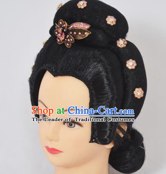 Traditional Handmade Chinese Classical Peking Opera Young Lady Hair Accessories and Wigs, China Beijing Opera Maidservants Diva Headwear