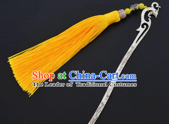 Traditional Handmade Chinese Classical Peking Opera Yellow Tassel Hair Accessories, China Beijing Opera Step Shake Hairpins