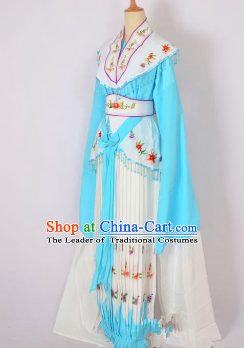 Traditional Chinese Professional Peking Opera Nobility Lady Costume Blue Dress, China Beijing Opera Shaoxing Opera Embroidery Diva Hua Tan Dress Clothing