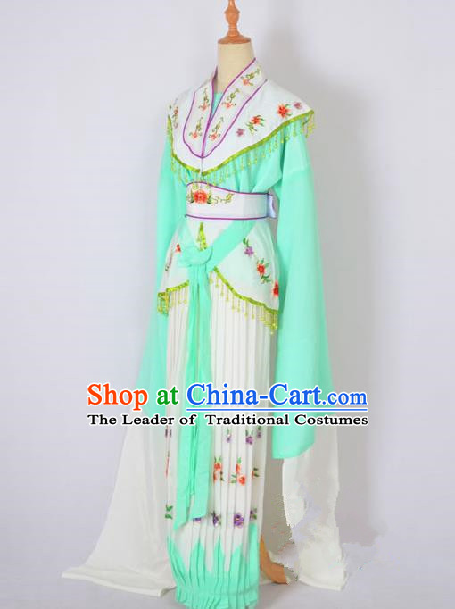 Traditional Chinese Professional Peking Opera Nobility Lady Costume Green Dress, China Beijing Opera Shaoxing Opera Embroidery Diva Hua Tan Dress Clothing
