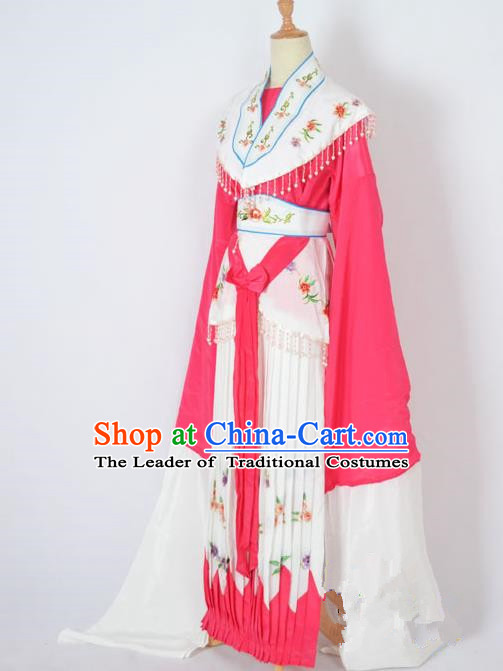 Traditional Chinese Professional Peking Opera Nobility Lady Costume Rosy Dress, China Beijing Opera Shaoxing Opera Embroidery Diva Hua Tan Dress Clothing