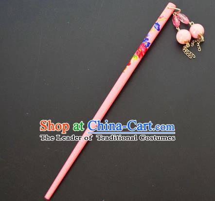 Traditional Handmade Chinese Classical Peking Opera Tassel Pink Hair Stick Hair Accessories, China Beijing Opera Step Shake Wood Hairpins