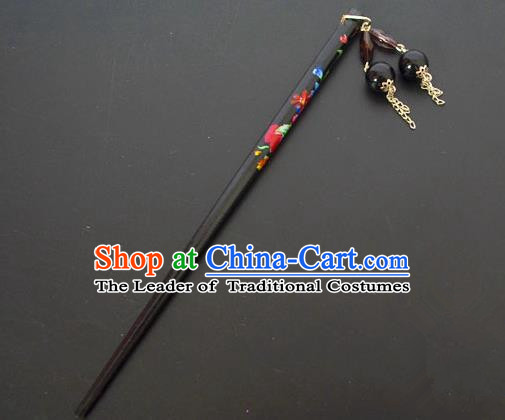 Traditional Handmade Chinese Classical Peking Opera Tassel Black Hair Stick Hair Accessories, China Beijing Opera Step Shake Wood Hairpins