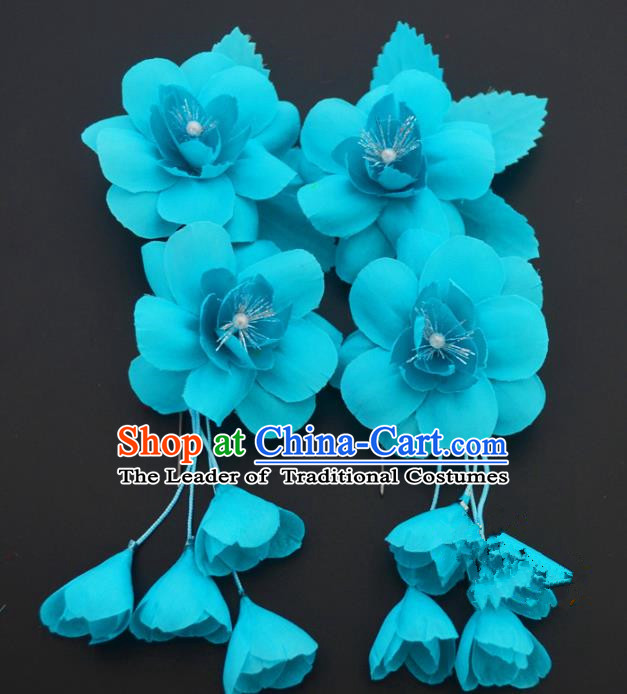 Traditional Handmade Chinese Classical Peking Opera Blue Silk Flowers Hair Stick Hair Accessories, China Beijing Opera Diva Step Shake Tassel Hairpins