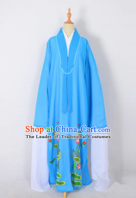 Traditional Chinese Professional Peking Opera Young Men Costume, China Beijing Opera Shaoxing Opera Niche Embroidery Lotus Blue Long Robe Clothing