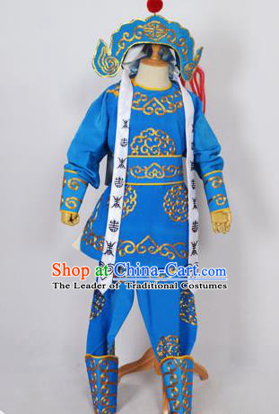 Traditional Chinese Professional Peking Opera Takefu Costume and Headwear, China Beijing Opera Shaoxing Opera Children Niche Warrior Blue Clothing