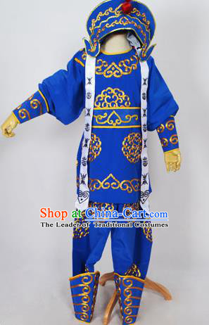Traditional Chinese Professional Peking Opera Takefu Costume and Headwear, China Beijing Opera Shaoxing Opera Children Niche Warrior Royalblue Clothing