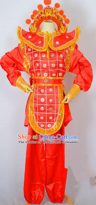 Traditional Chinese Professional Peking Opera Takefu Costume and Headwear, China Beijing Opera Shaoxing Opera Children Niche Warrior Red Clothing