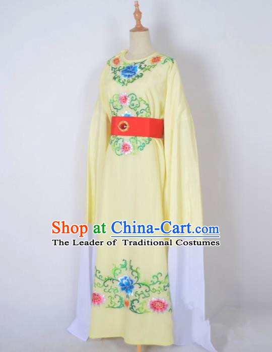 Traditional Chinese Professional Peking Opera Crown Prince Costume, China Beijing Opera Shaoxing Opera Niche Yellow Embroidered Robe Clothing