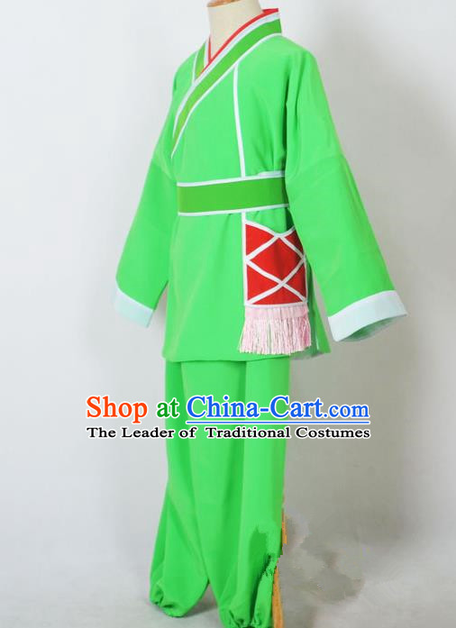 Traditional Chinese Professional Peking Opera Children Costume, China Beijing Opera Shaoxing Opera Village Kids Green Uniform Livehand Clothing
