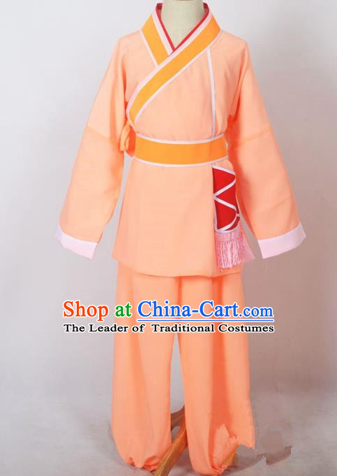 Traditional Chinese Professional Peking Opera Children Costume, China Beijing Opera Shaoxing Opera Village Kids Orange Uniform Livehand Clothing