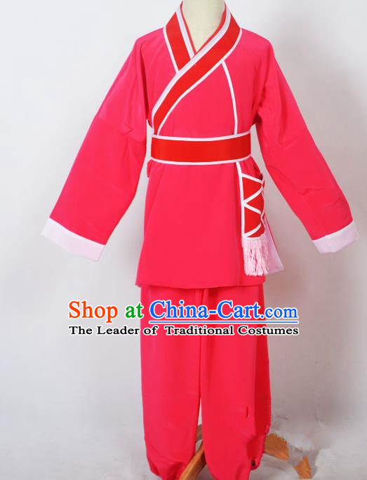 Traditional Chinese Professional Peking Opera Children Costume, China Beijing Opera Shaoxing Opera Village Kids Rosy Uniform Livehand Clothing