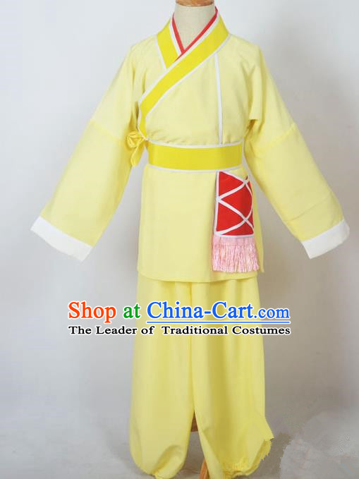 Traditional Chinese Professional Peking Opera Children Costume, China Beijing Opera Shaoxing Opera Village Kids Yellow Uniform Livehand Clothing