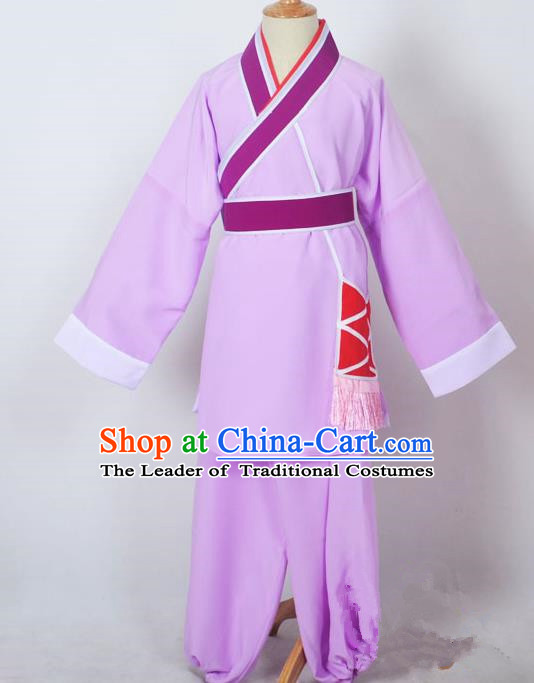 Traditional Chinese Professional Peking Opera Children Costume, China Beijing Opera Shaoxing Opera Village Kids Purple Uniform Livehand Clothing