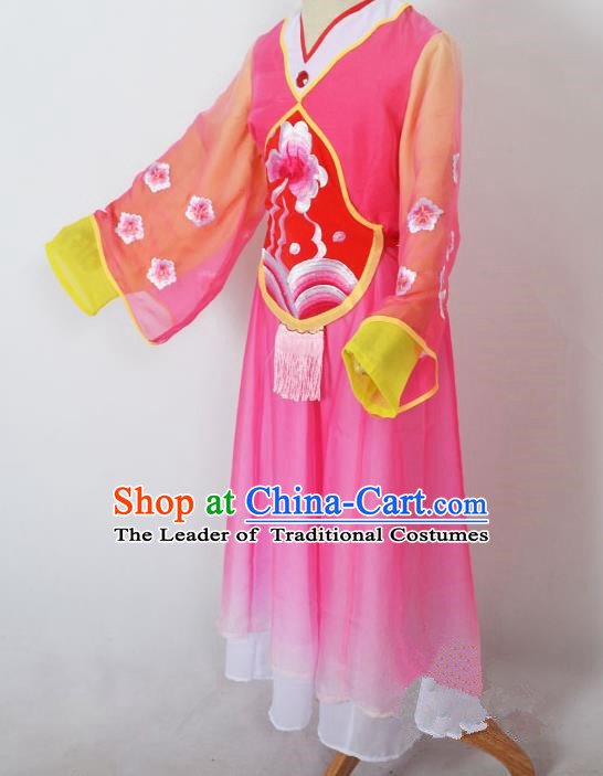 Traditional Chinese Professional Peking Opera Sitting Children Costume, China Beijing Opera Shaoxing Opera Seventh Fairy Rosy Uniform Princess Embroidery Dress Clothing