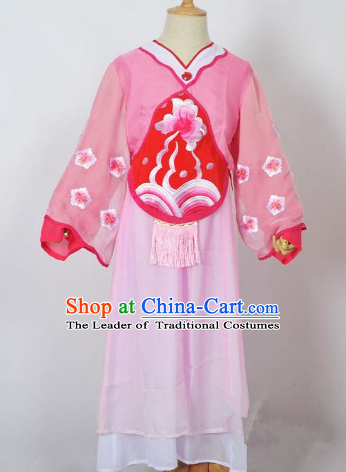 Traditional Chinese Professional Peking Opera Sitting Children Costume, China Beijing Opera Seventh Fairy Pink Uniform Princess Embroidery Dress Clothing