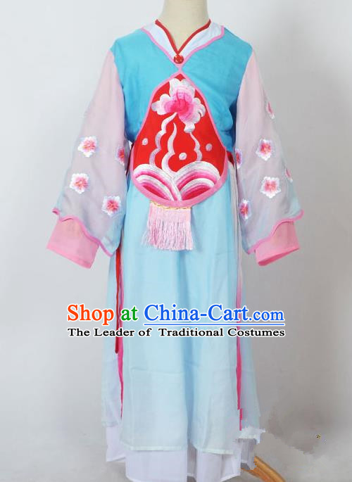 Traditional Chinese Professional Peking Opera Sitting Children Costume, China Beijing Opera Seventh Fairy Blue Uniform Princess Embroidery Dress Clothing