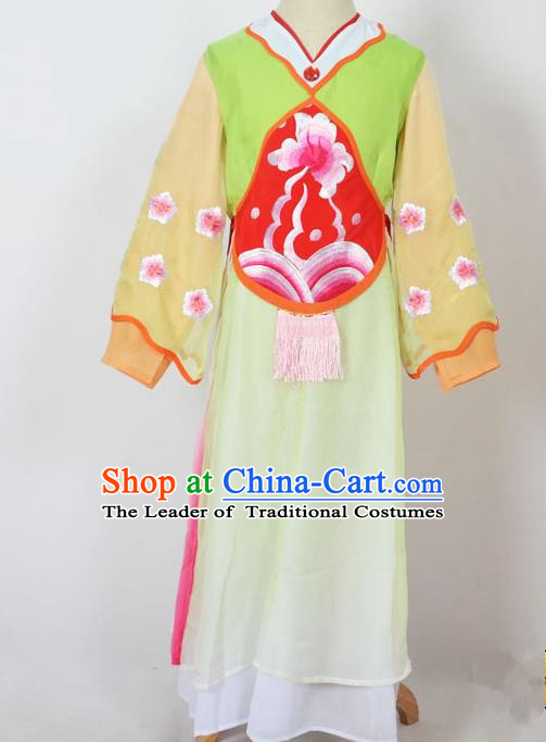 Traditional Chinese Professional Peking Opera Sitting Children Costume, China Beijing Opera Seventh Fairy Green Uniform Princess Embroidery Dress Clothing