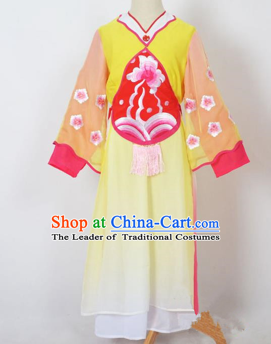 Traditional Chinese Professional Peking Opera Sitting Children Costume, China Beijing Opera Seventh Fairy Yellow Uniform Princess Embroidery Dress Clothing