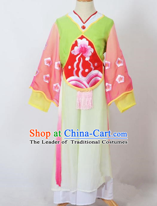 Traditional Chinese Professional Peking Opera Sitting Children Costume, China Beijing Opera Seventh Fairy Light Green Uniform Princess Embroidery Dress Clothing