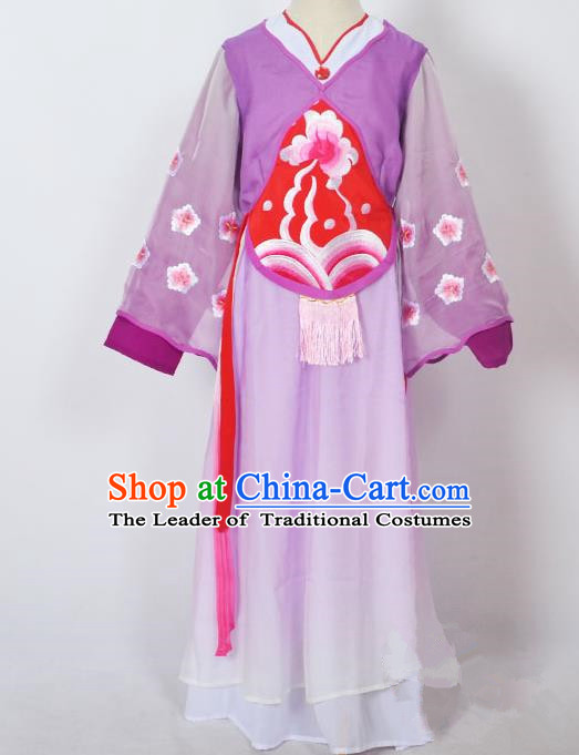 Traditional Chinese Professional Peking Opera Sitting Children Costume, China Beijing Opera Seventh Fairy Purple Uniform Princess Embroidery Dress Clothing