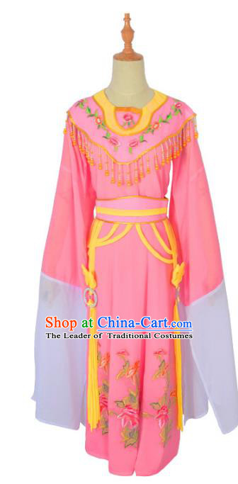 Traditional Chinese Professional Peking Opera Diva Hua Tan Costume, China Beijing Opera Princess Embroidery Pink Dress Clothing