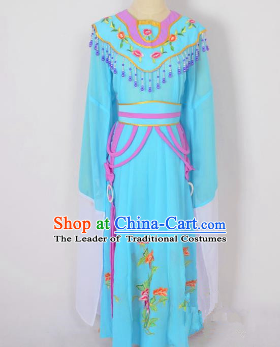 Traditional Chinese Professional Peking Opera Diva Hua Tan Costume, China Beijing Opera Princess Embroidery Blue Dress Clothing