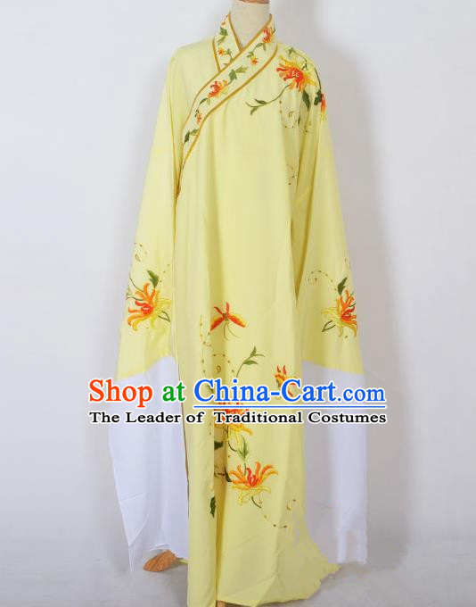 Traditional Chinese Professional Peking Opera Niche Young Men Costume, China Beijing Opera Prince Embroidery Chrysanthemum Yellow Robe Clothing