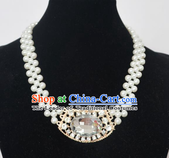 Traditional Handmade Chinese Classical Peking Opera Diva Accessories Necklace, China Beijing Opera Hua Tan Pearls Torque