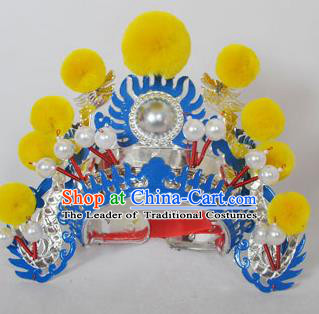 Traditional Handmade Chinese Classical Peking Opera Blues Accessories Yellow Venonat Hat, China Beijing Opera Swordplay Warriors Blue Headwear