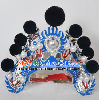 Traditional Handmade Chinese Classical Peking Opera Blues Accessories Black Venonat Hat, China Beijing Opera Swordplay Warriors Blue Headwear