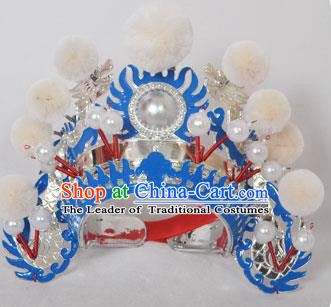 Traditional Handmade Chinese Classical Peking Opera Blues Accessories White Venonat Hat, China Beijing Opera Swordplay Warriors Blue Headwear