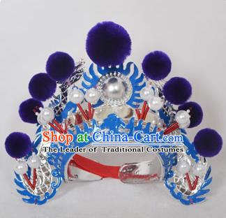 Traditional Handmade Chinese Classical Peking Opera Blues Accessories Purple Venonat Hat, China Beijing Opera Swordplay Warriors Blue Headwear